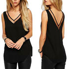 Fashion Women Chiffon V-Neck Vest Top Sleeveless Blouse Casual Tank Tops T-Shirt