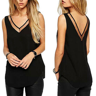 Fashion Women Chiffon V-Neck Vest Top Sleeveless Blouse Casual Tank Tops T-Shirt