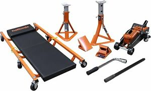 Halfords-5-Piece-Lifting-Kit-Safe-2-x-2-Tonne-Axle-Stands-3-Height-Positions