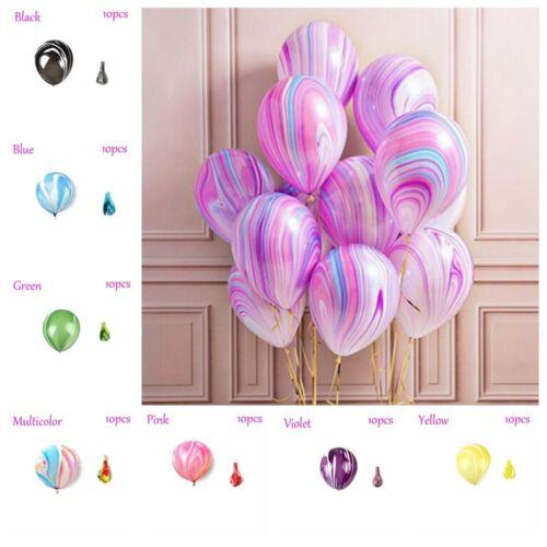 """1*10Pcs coloré agate Latex Ballons Fête Décoration Tie-Dye Bébé Anniversaire 12/"""""""