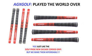 AGXGOLF-MENS-CORDED-GOLF-GRIPS-8-PACK-BLACK-RED-GOLF-PRIDE-TYPE-STANDARD