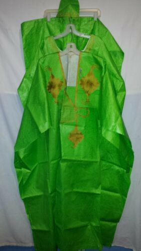 African Clothing Men Grand Bou Bou Pant Suit Brocade Cotton P Green Free Size