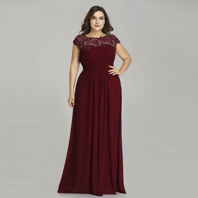 b75cb8c64b4bf Ever-Pretty Long Bridesmaid Dress Burgundy Lace Evening Gowns Size 6 ...