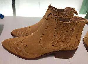 1b09becfa24a ZARA NEW WOMAN BLOCK HEEL LEATHER COWBOY ANKLE BOOTS EU 40 UK7 US 9 ...