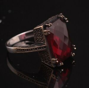 925-Sterling-Silver-Handmade-Authentic-Turkish-Ruby-Ladies-Ring-Size-6-9