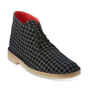 Details About Clarks Original Desert Men S Black White Grid Suede Chukka Boot Style 26110027