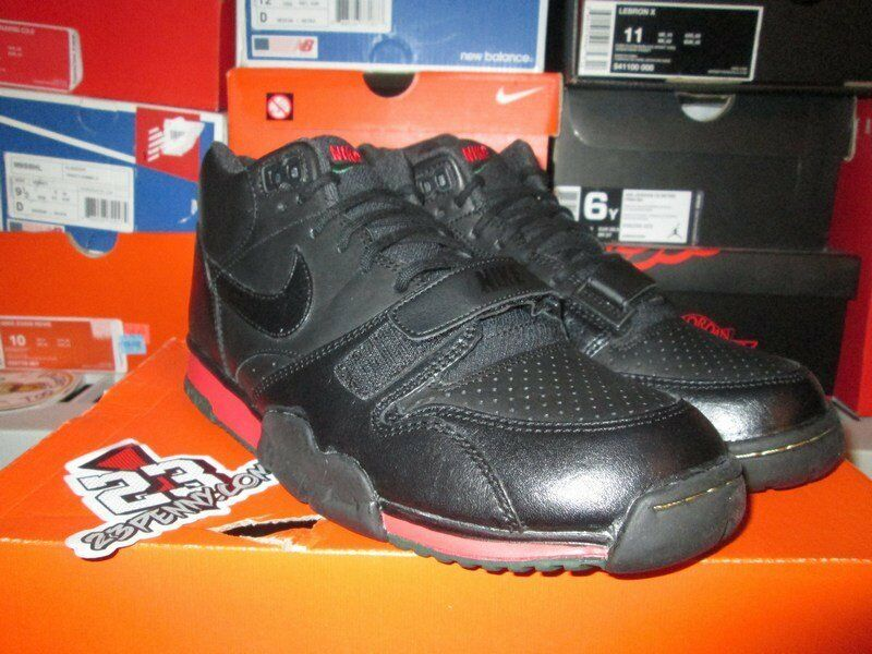 SALE NIKE AIR TRAINER 1 MID PREMIUM DRAFT DAY BLACK GREEN RED 607081 001 SZ 9.5