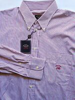 $325 Paul & Shark Made In Italy Striped Button Down Shirt 100% Cotton Sz 16.5