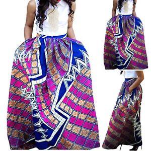 2019 Womens African Print Dashiki Long Maxi A Line Skirts Ball Gown