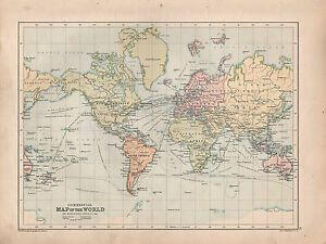 VICTORIAN MAP THE WORLD COMMERCIAL STEAMER ROUTES SAILING - Victorian world map