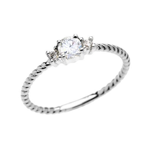 14k White Gold Dainty Solitaire White Topaz Rope Stackable Ring