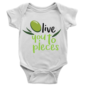 Olive You To Pieces Babygrow Funny Joke Food I Love Hearts Body Suit Present