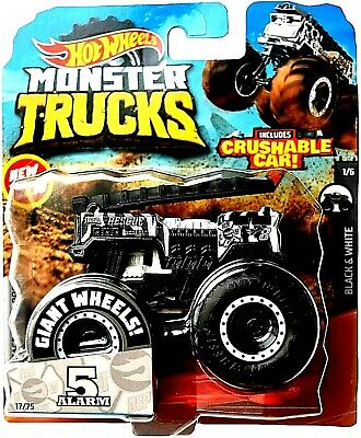 New 2020 Hot Wheels Monster Jam 5 Alarm Black White Zebra Truck 1 64 Rare Htf Ebay