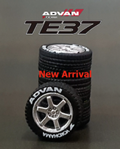 1:64 rubber tires / rims & 2 axles -  TE37 fit Kyosho Hot Wheels MBX diecast