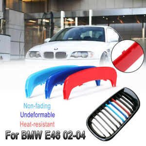 3x-Car-Front-Kidney-Grille-Grill-Trim-Stripe-Cover-Decoration-For-BMW-E46-02-04