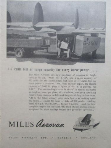 3//1946 PUB MILES AIRCRAFT READING AEROVAN FREIGHT FRET AERIEN ORIGINAL AD