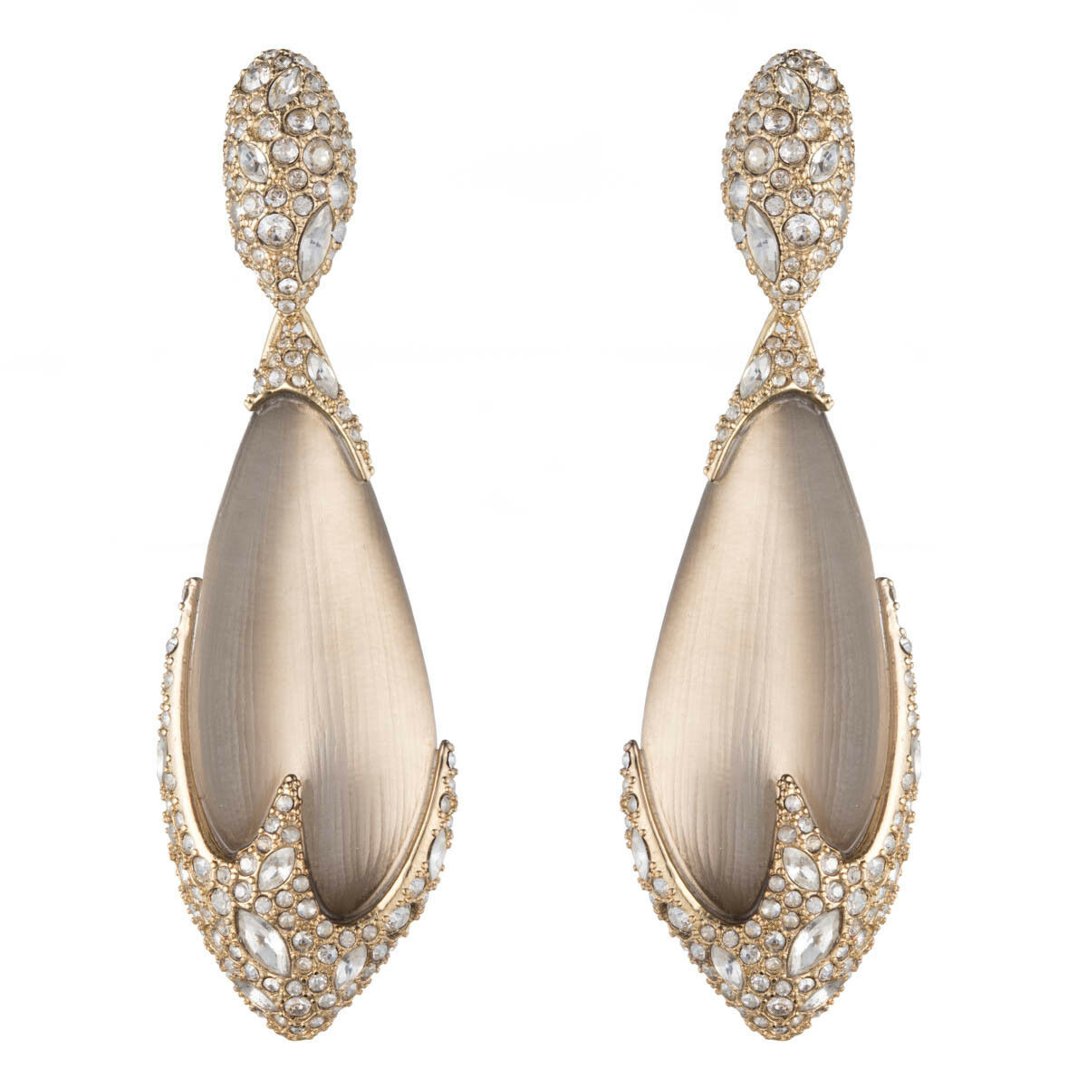 Alexis Bittar Crystal Encrusted Warm Grey Lucite Dangling Clip On Earring