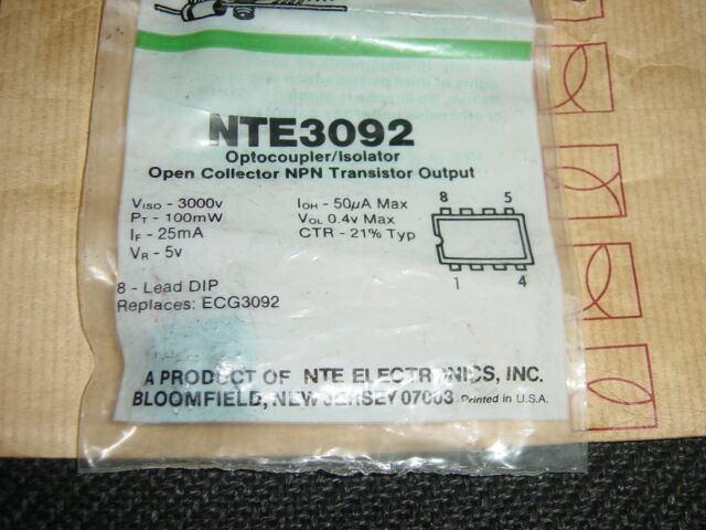 NTE3092 OPTOCOUPLER INTEGRATED CIRCUIT REPL ECG3092