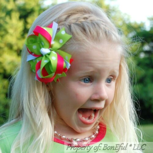 "BonEful RTS NEW Boutique Girl Pink Green White Dot Ribbon 4/"" Toddler Lg Hair*Bow"