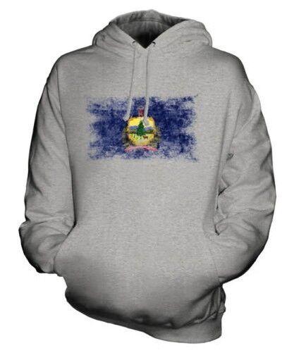 Vermont État Drapeau Délavé Sweat à Capuche Unisexe Haut T-Shirt Cadeau