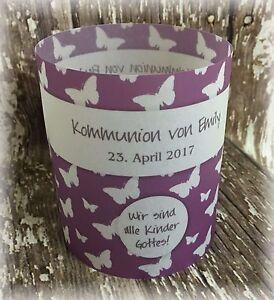 4 X Tischlicht Tischdeko Deko Kommunion Konfirmation Schmetterlinge