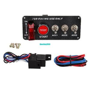 racing car 12v ignition switch panel engine start push button led toggle carbon ebay