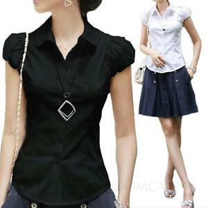 Cap-Sleeve-top-Office-Cotton-Blouse-Collared-Shirt-Womens-Ladies-fashion-Size