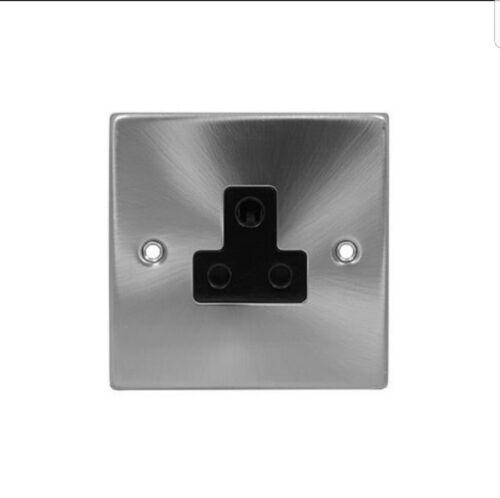 Noir Insert VPSC 038BK Cliquez sur DECO-Chrome Satiné 5 A Round Pin Socket Outlet