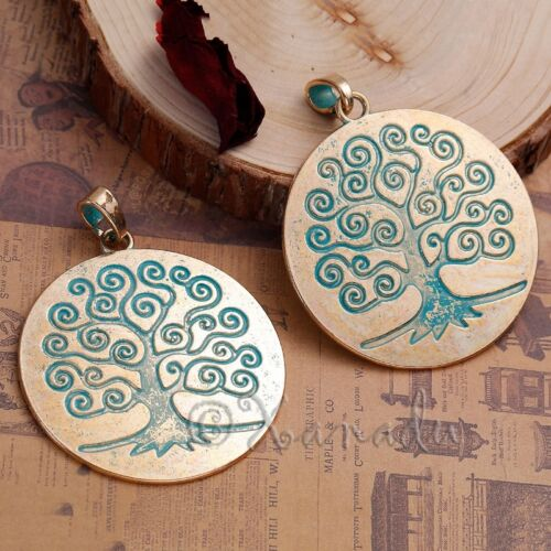 2 Or 5PCs Tree Of Life Pendant Pale Gold And Turquoise Patina Charm C1163-1