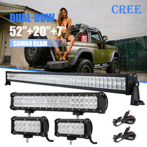 "52inch 700W 20in 294W 7/"" 36W LED Light Bar For Jeep JK TJ YJ LJ CJ Rubicon 50/"""