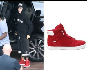Supra-FTWR-Co-Justin-Bieber-VAIDER-Fever-Red-White-Sz-10-DS