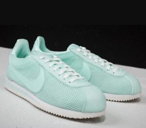 the best attitude c6ac1 10f3d Nike Classic Cortez Nylon Igloo Green White Leather Trainers Women's ...