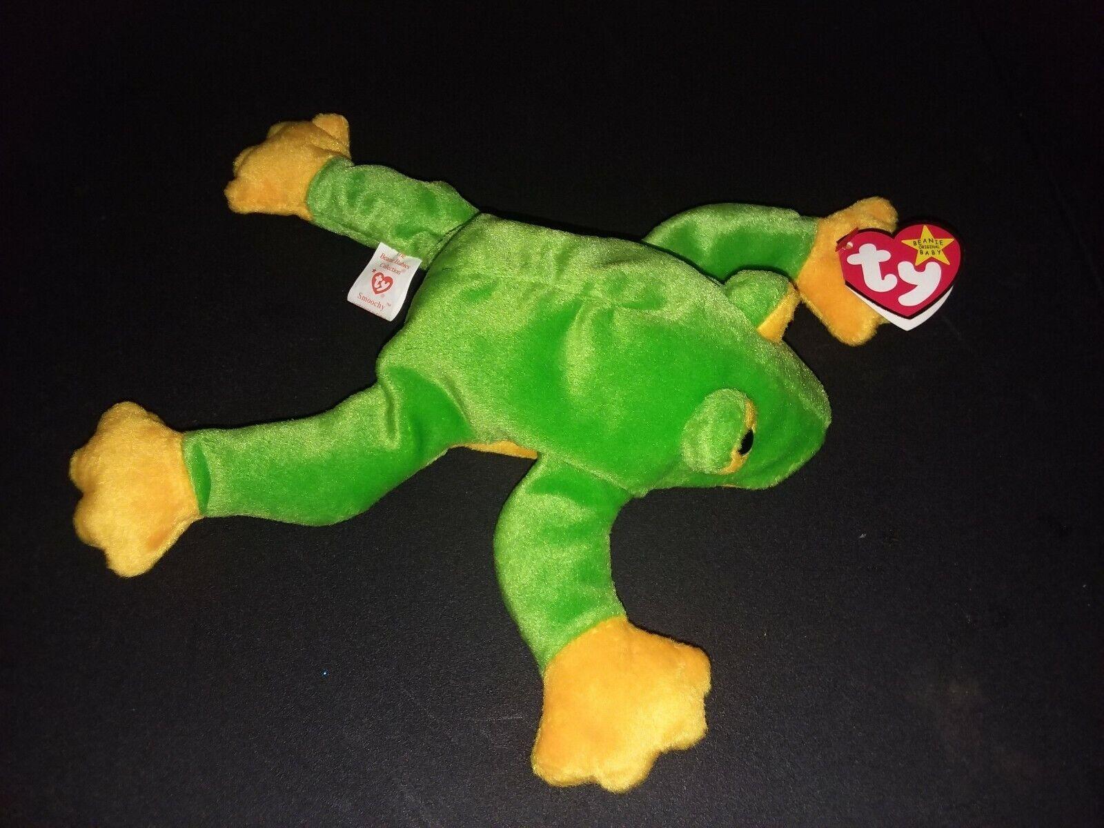 very rareTy Beanie Baby Baby Baby 'Smoochy' The Frog (Retired 1997) Tag Errors. f54692