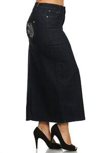 womens denim length skirt black or blue size 8