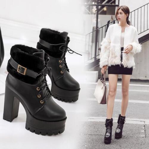 Block Fur piattaforma Winter Trim Womens Stivaletti Strap Fashion Tacchi alti wgpXS
