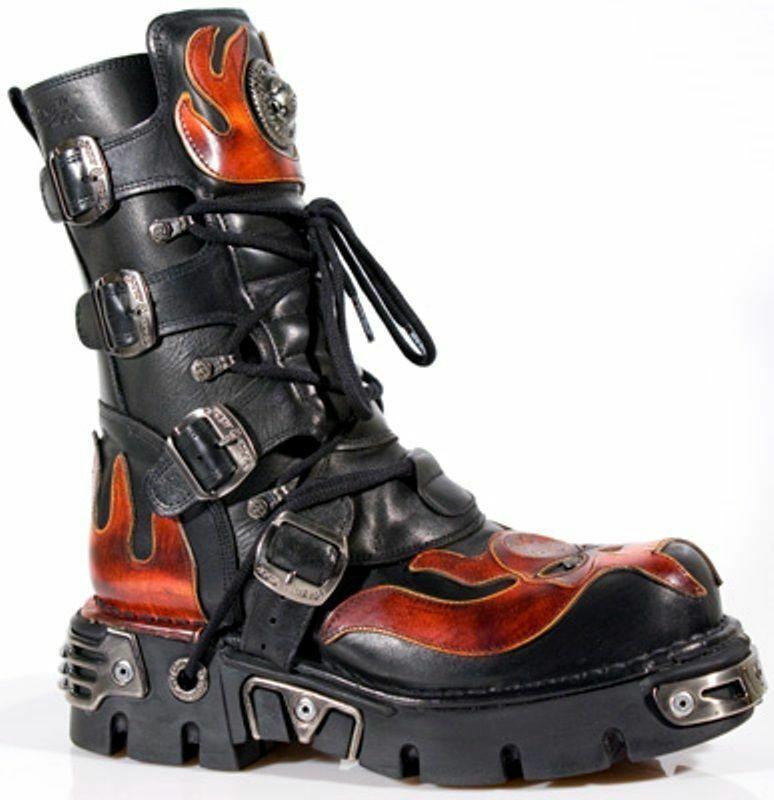 NEWROCK Men's Leather New Rock 107-S1 Red Skull Devil Black Goth Emo Biker Boots