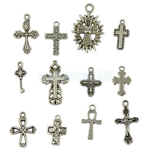 50Pcs Assorted Vintage Tibetan Silver Cross Charms Pendants Mix DIY Jewelry