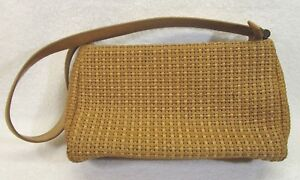 75b04ed4900 Image is loading Fossil-Brown-Tan-Leather-Basket-Weave-Purse-Hand-