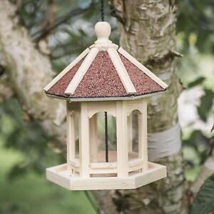 Livraison Rapide Bois Naturel Hanging Pavillon Style Mangeoire Nouveauté Station D'alimentation Jardin-afficher Le Titre D'origine