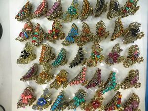 US Seller-wholesa<wbr/>le lot 12 retro hair claws clips with imitation gemstone