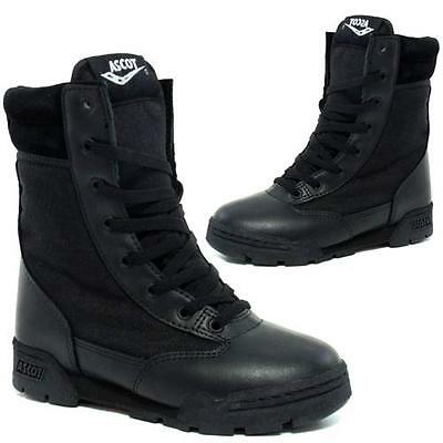 BOYS COMBAT BOOTS GIRLS ARMY MILITARY CADET LEATHER BACK TO SCHOOL SHOES SIZE