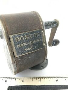 Vintage-BOSTON-Model-L-Pencil-Sharpener-Silver-Metal-Hand-Crank-Mountable