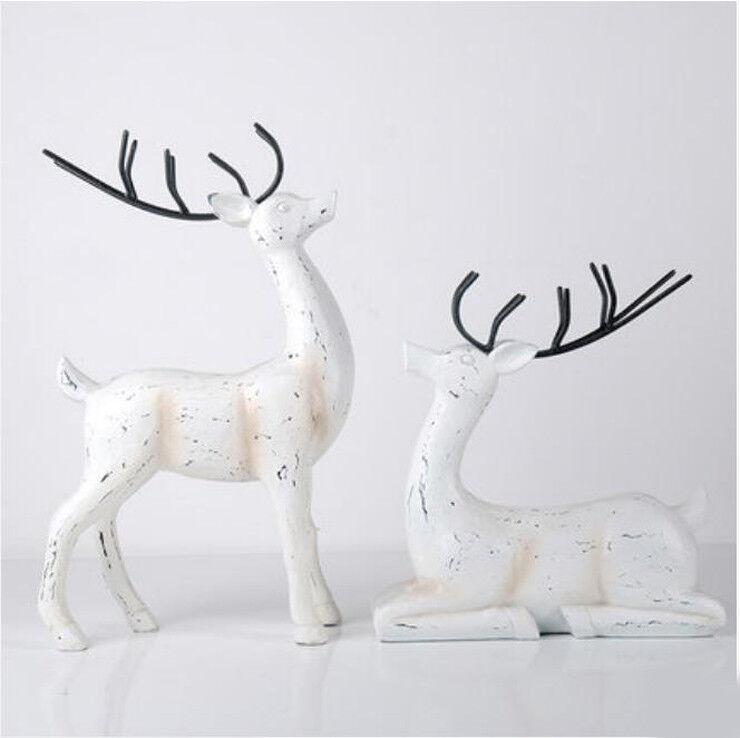 D622 2 PCS blanc Deer Figurine Living Room Bedroom Wedding Desktop Decor Z