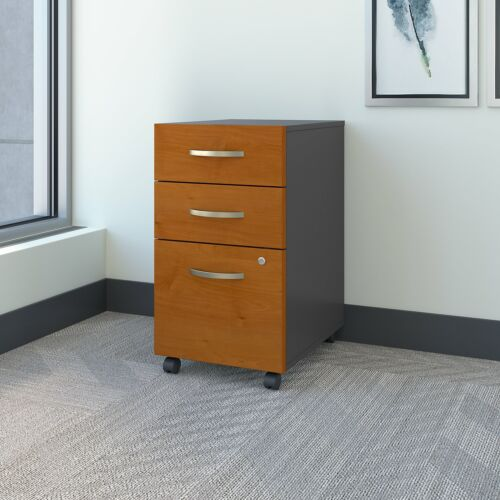 Natural Cherry Assembled Bush Series C Collection Three-Drawer Mobile Pedestal