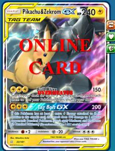 Reshiram /& Zekrom GX RA Cosmic Eclipse Pokemon TCG ONLINE Card PTCGO SENT FAST!