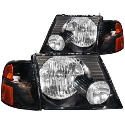 Anzo 111071 Crystal Headlight Set Clear Lens Black Housing Pair w//Corner Lights