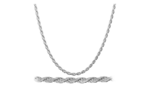 2MM 925 Sterling Silver Italian DIAMOND CUT ROPE CHAIN Necklace Italian Made