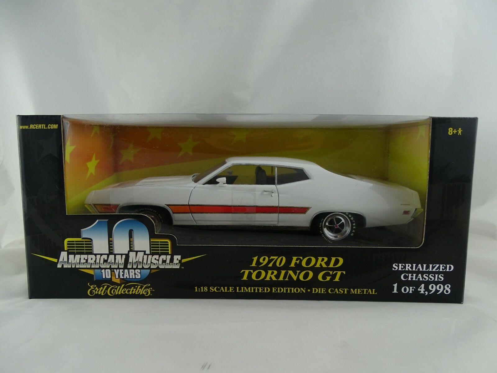 1 18 ERTL American Muscle  36512 1970 FORD TORINO GT BIANCO LIMITED EDITION