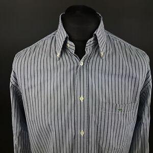Lacoste-Mens-Shirt-42-LARGE-Long-Sleeve-Blue-Regular-Fit-Striped-Cotton