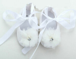 Baby-Shower-Girls-Kid-Christening-Ballet-White-crystal-Lace-Gem-Shoes-First